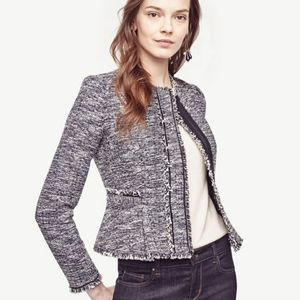 Ann Taylor Tweed Kayla Jacket Fringe Trim Career
